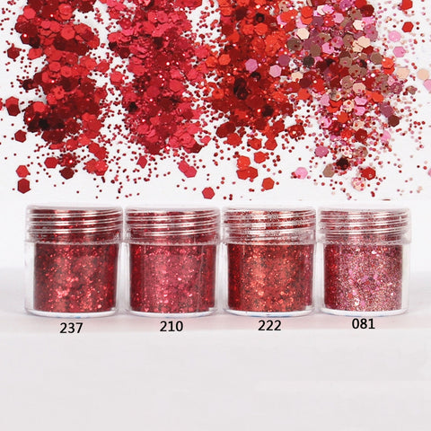 Red set Hexagon Glitter Sequin Mix for Resin Crafts