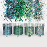 Green Hexagon Glitter Sequin Mix for Resin Crafts