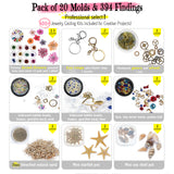 411pcs Cabochon Gem Pendant Earrings Resin Silicone Molds Kit