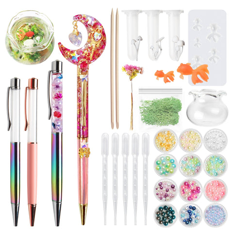 32pcs Resin Herbarium Floral Ballpoint Pens Jewellery Making Kit