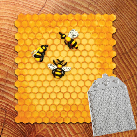 Honeycomb and Bees Textured Decorating Mold