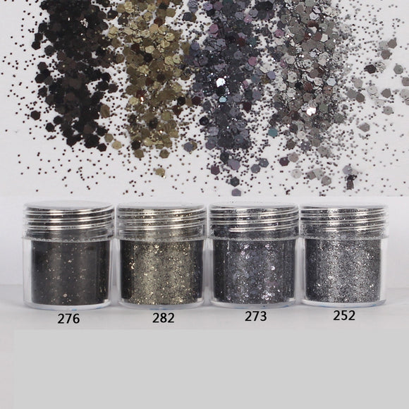 Black & Grey Hexagon Glitter Sequin Mix for Resin Crafts