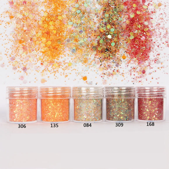 Orange Hexagon Glitter Sequin Mix for Resin Crafts