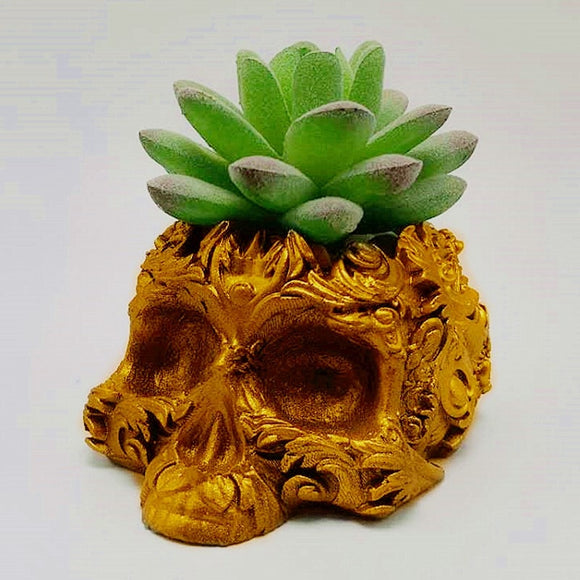 3D Golden Skull Silicone Mold by MsDIYSupplies