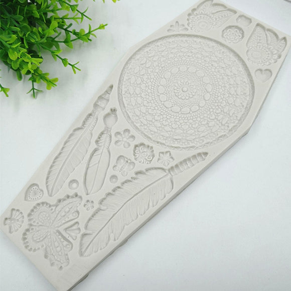 Feather Butterfly Lace Cake Border Mold - MsDIYSupplies