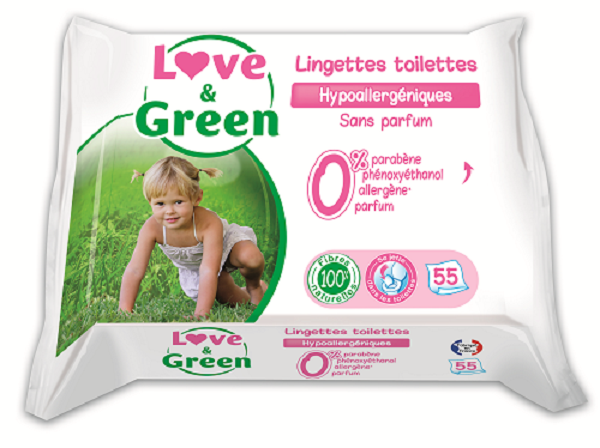Love and Green Flushable wipes 1 pk.