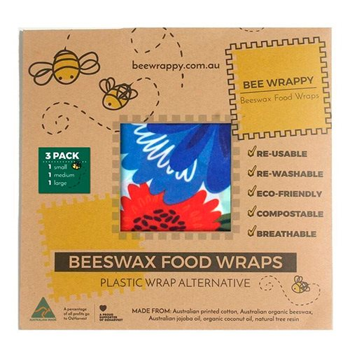 Beeswax Food Wraps 3 pack 1x small 1x medium & 1x large