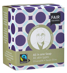 Fair Squared - Sæbebar - All In One - Økologisk Oliven & Øl 2 x 80 g