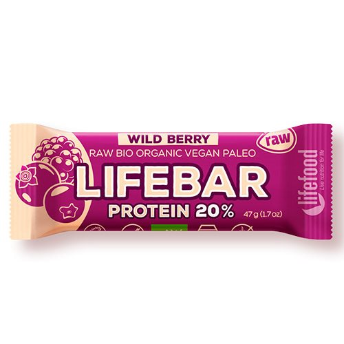 Lifebar Raw Vildebær Protein bar 47 g