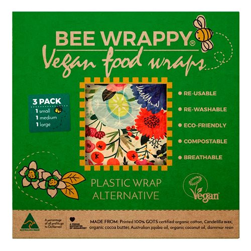 Bee Wrappy Food Wraps - Vegan 3 Pak