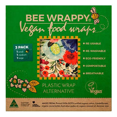 Bee Wrappy Food Wraps - Vegan 3 Pak - Hvornum