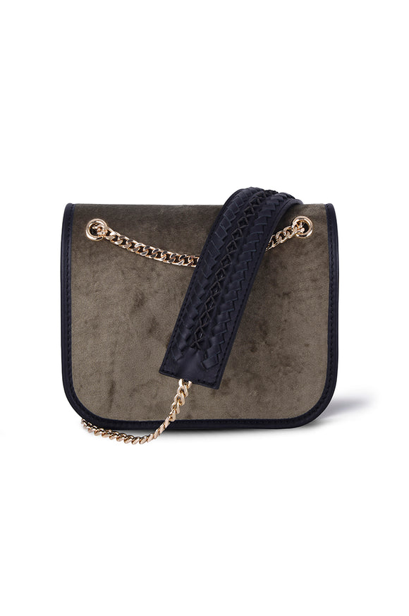BRANDY SHOULDER CHAIN BAG - GREEN VELVET