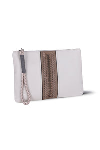 PITA CLUTCH - ECRU LEATHER