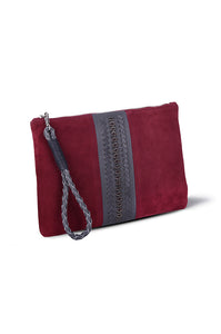 PITA CLUTCH- RED SUEDE