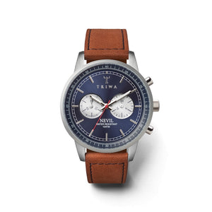 TRIWA Nevil Chrono Navy Blue-Brown Unisex Kol Saati