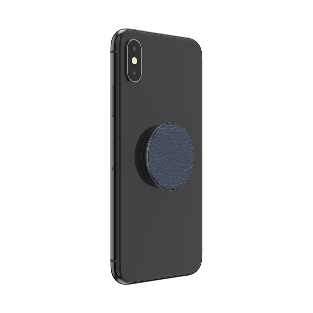 Pebbled Vegan Leather Prussian Navy, PopSockets