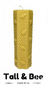 tall and bee beeswax candle