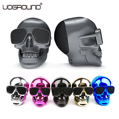 New Plastic Metallic Skull Shape Wireless Bluetooth Speaker NFC Skull Speaker Subwoofer Multipurpose Speaker Cool with Package