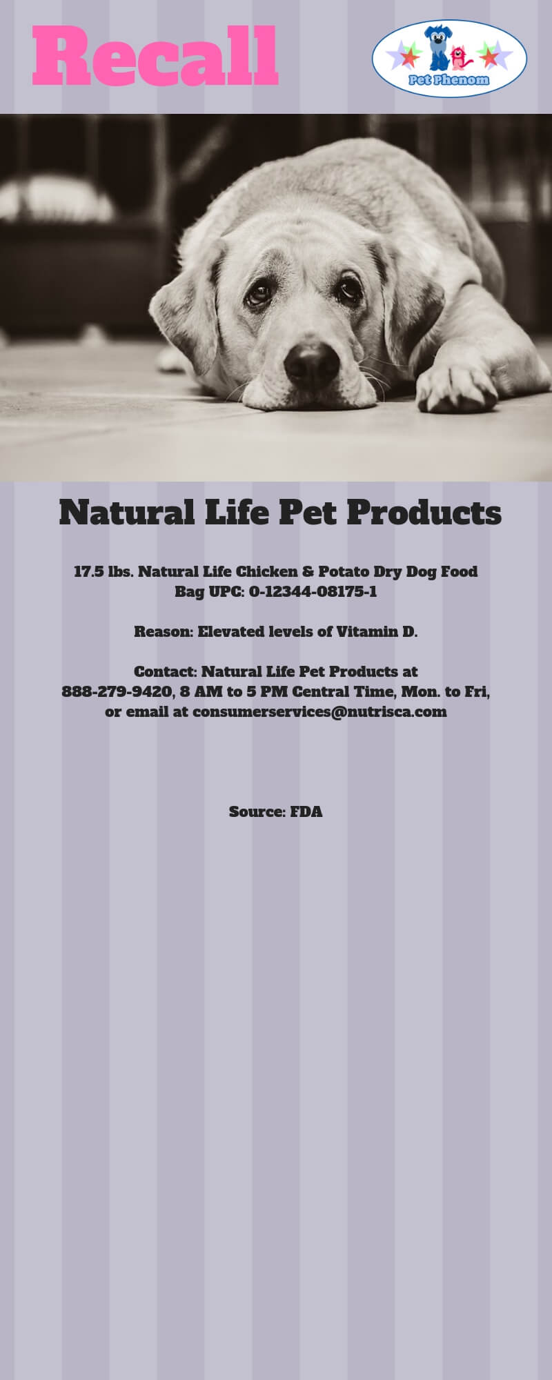 Natural Life Pet Products Dry Dog Food Recall