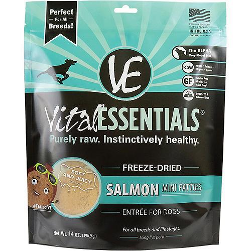 Vital Essentials Salmon Entree Mini Patties Grain-Free Freeze-Dried Raw Dog Food, 14-oz-Dog-Vital Essentials-PetPhenom