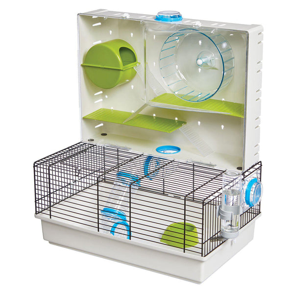 "Midwest Critterville Arcade Hamster Home Clear, Green, Blue 18.11"" x 11.61"" x 21.26""-Small Animal-Midwest-PetPhenom"