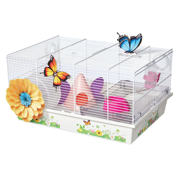 "Midwest Critterville Butterfly Hamster Home Clear, White 19.5"" x 13.8"" x 9.8""-Small Animal-Midwest-PetPhenom"