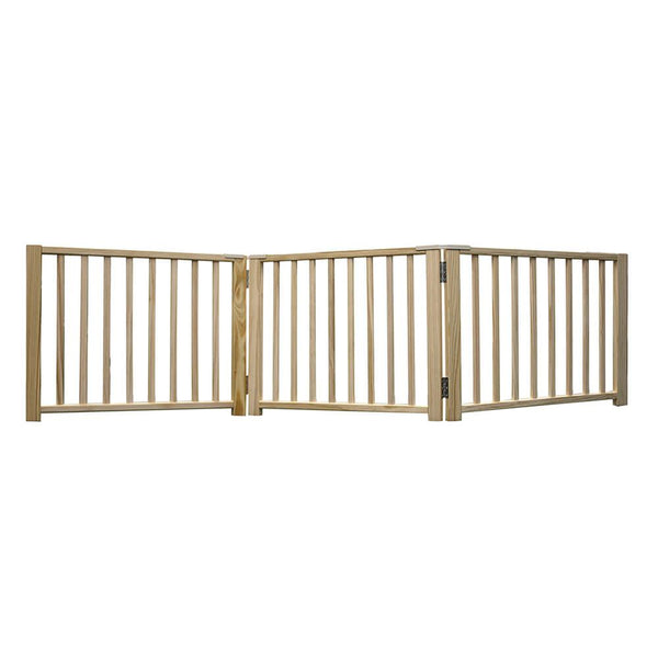 "Four Paws Smart Design Folding Freestanding Gate 3 Panel Beige 24"" - 68"" x 1"" x 17""-Dog-Four Paws-PetPhenom"