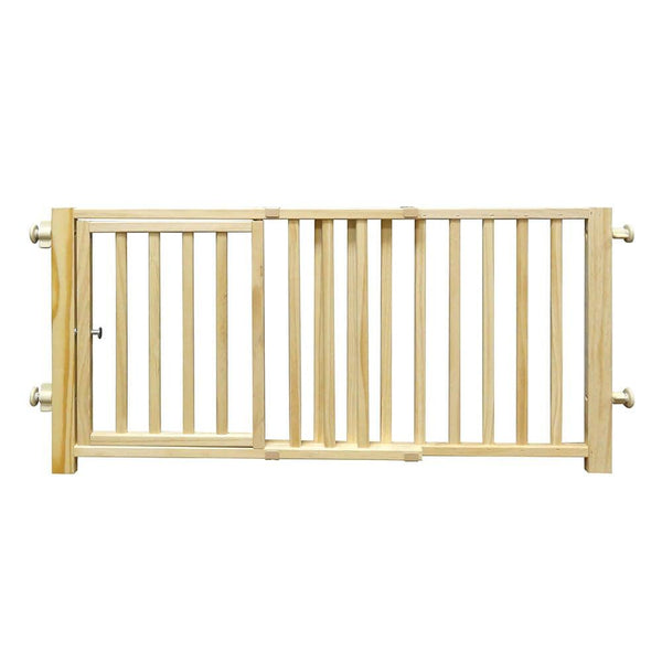 "Four Paws Smart Design Walkover Pressure Mounted Gate with Door Beige 30"" - 44"" x 1"" x 18""-Dog-Four Paws-PetPhenom"