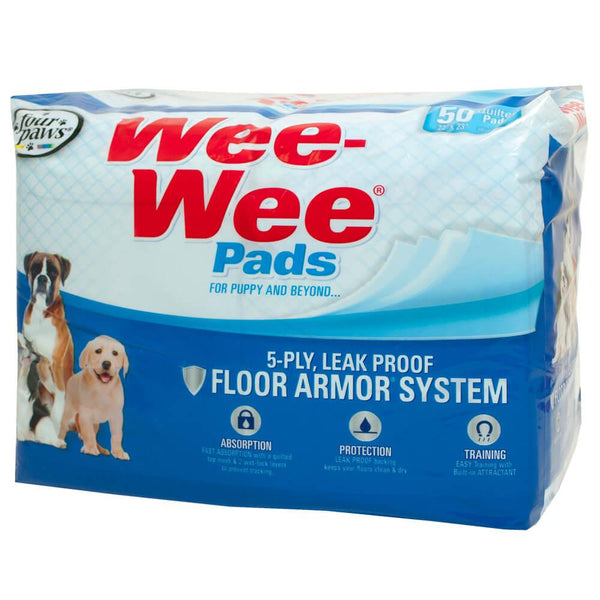 "Four Paws Wee-Wee Pads 50 pack White 22"" x 23"" x 0.1""-Dog-Four Paws-PetPhenom"