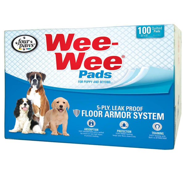 "Four Paws Wee-Wee Pads 100 pack White 22"" x 23"" x 0.1""-Dog-Four Paws-PetPhenom"