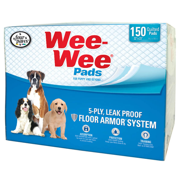 "Four Paws Wee-Wee Pads 150 pack White 22"" x 23"" x 0.1""-Dog-Four Paws-PetPhenom"