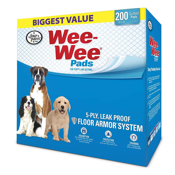 "Four Paws Wee-Wee Pads 200 pack White 22"" x 23"" x 0.1""-Dog-Four Paws-PetPhenom"