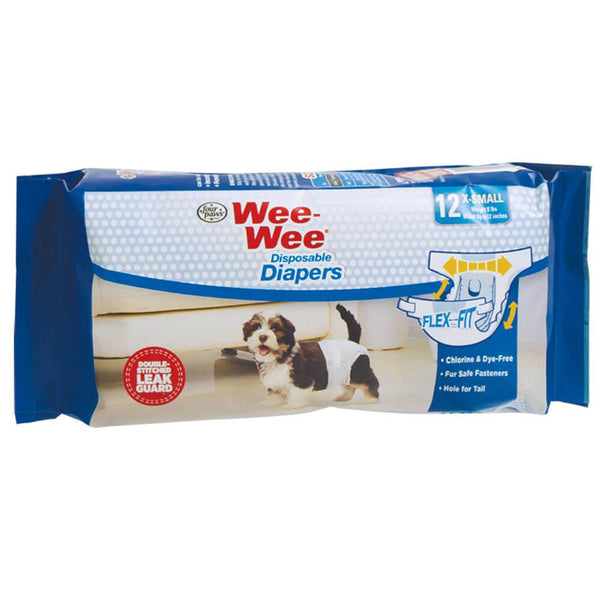 Four Paws Wee-Wee Disposable Diapers 12 pack Extra Small White-Dog-Four Paws-PetPhenom
