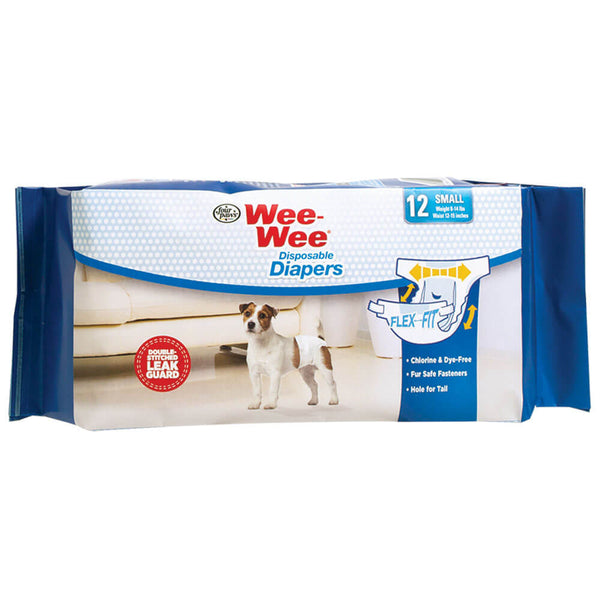 Four Paws Wee-Wee Disposable Diapers 12 pack Small White-Dog-Four Paws-PetPhenom