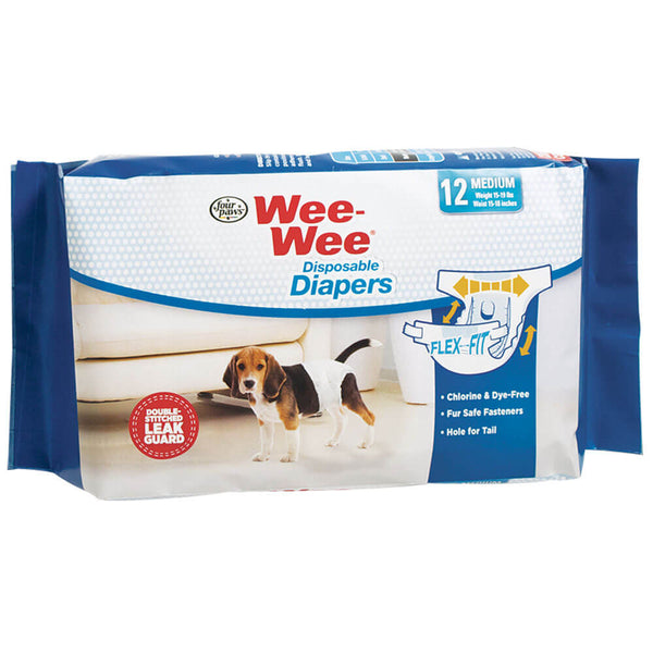 Four Paws Wee-Wee Disposable Diapers 12 pack Medium White-Dog-Four Paws-PetPhenom