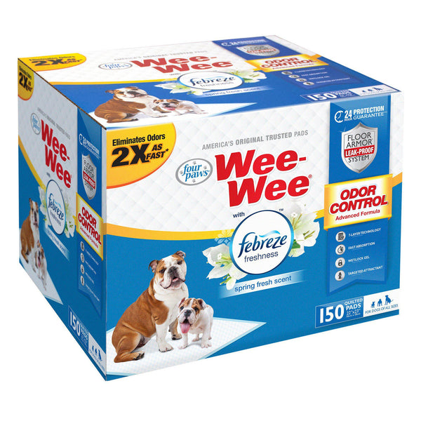 "Four Paws Wee-Wee Odor Control with Febreze Freshness Pads 150 count White 22"" x 23"" x 0.1""-Dog-Four Paws-PetPhenom"