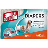Simple Solution Disposable Dog Diapers 12 pack Large White-Dog-Simple Solution-PetPhenom