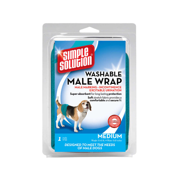 Simple Solution Washable Male Dog Wrap Medium Teal