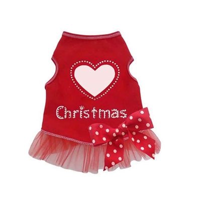 I See Spot Christmas Love Dress - Red -Medium-Dog-I See Spot-PetPhenom