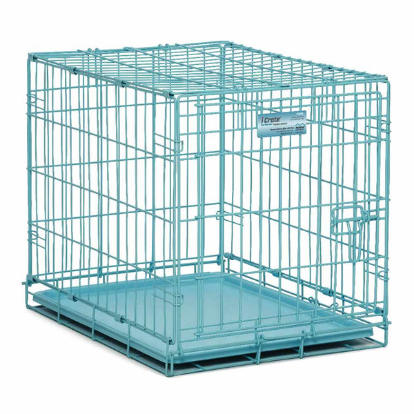 "Midwest iCrate Single Door Dog Crate Blue 24"" x 18"" x 19""-Dog-Midwest-PetPhenom"