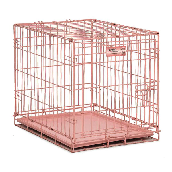"Midwest iCrate Single Door Dog Crate Pink 24"" x 18"" x 19""-Dog-Midwest-PetPhenom"