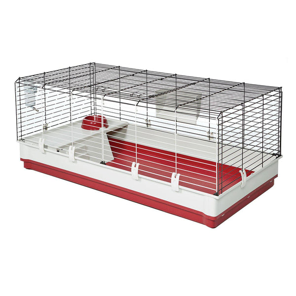 "Midwest Wabbitat Deluxe Extra Long Rabbit Home White, Red 47.24"" x 23.62"" x 19.68""-Small Animal-Midwest-PetPhenom"