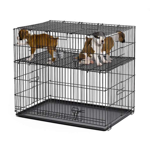 "Midwest Puppy Playpen with Plastic Pan and 1/2"" Floor Grid Black 24"" x 36"" x 30""-Dog-Midwest-PetPhenom"