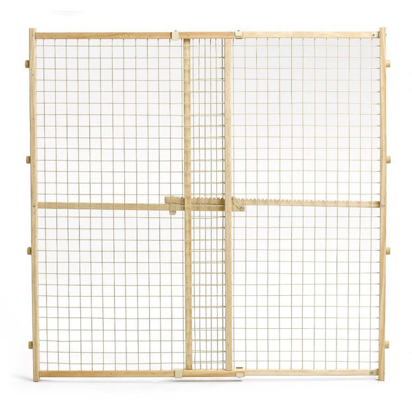"Midwest Wood Gate with Wire Mesh Wood 29"" - 50"" x 44""-Dog-Midwest-PetPhenom"