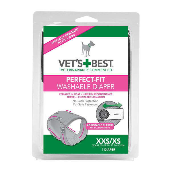 "Vet's Best Perfect-Fit Washable Female Dog Diaper 1 pack Extra Extra Small / Extra Small Gray 5.44"" x 1.75"" x 7.75""-Dog-Vet's Best-PetPhenom"