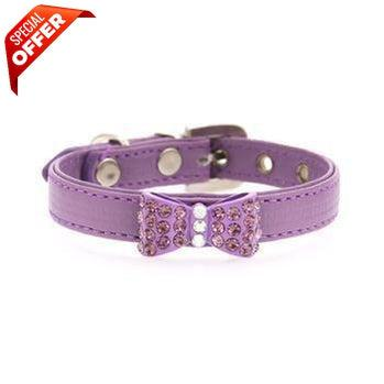 Mirage Pet Products Bow-dacious Crystal Dog Collar Lavender, Size 10-Mirage Pet Products-PetPhenom