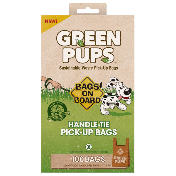 Bags on Board Green-Ups Waste Pick-Up Hand Tie Bags 100 count Brown-Dog-Bags on Board-PetPhenom