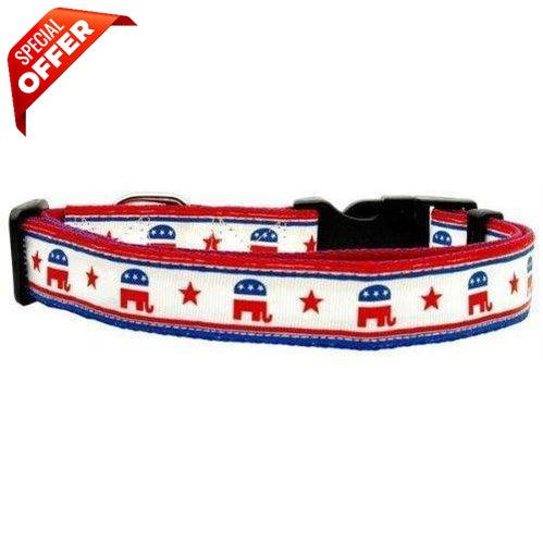 Mirage Pet Products Political Nylon Republican Dog Collar, Small-Mirage Pet Products-PetPhenom