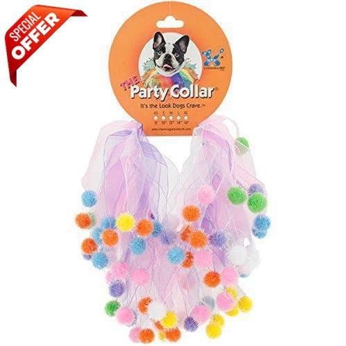 Charming Party Collar Pom Multi, Extra Small-Charming-PetPhenom