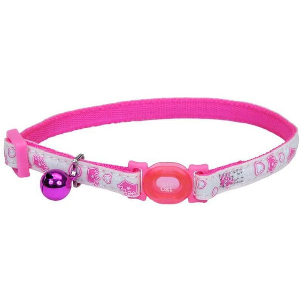 Safe Cat® Adjustable Snag-Proof Nylon Breakaway Collar, Glowing Pink-Cat-Coastal Pet Products-PetPhenom